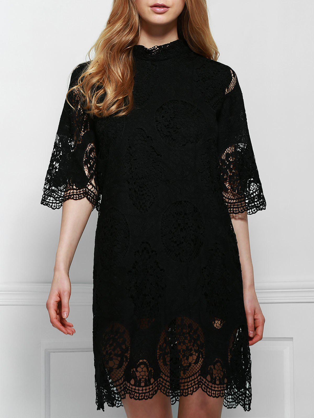 Elegant Stand-Up Collar 3/4 Sleeve Solid Color Women's Lace Dress - BLACK S