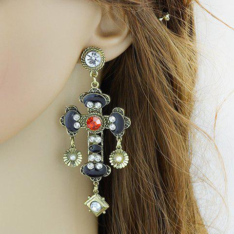 Pair of Charming Rhinestone Faux Pearl Cross Floral Earrings For Women - GOLDEN