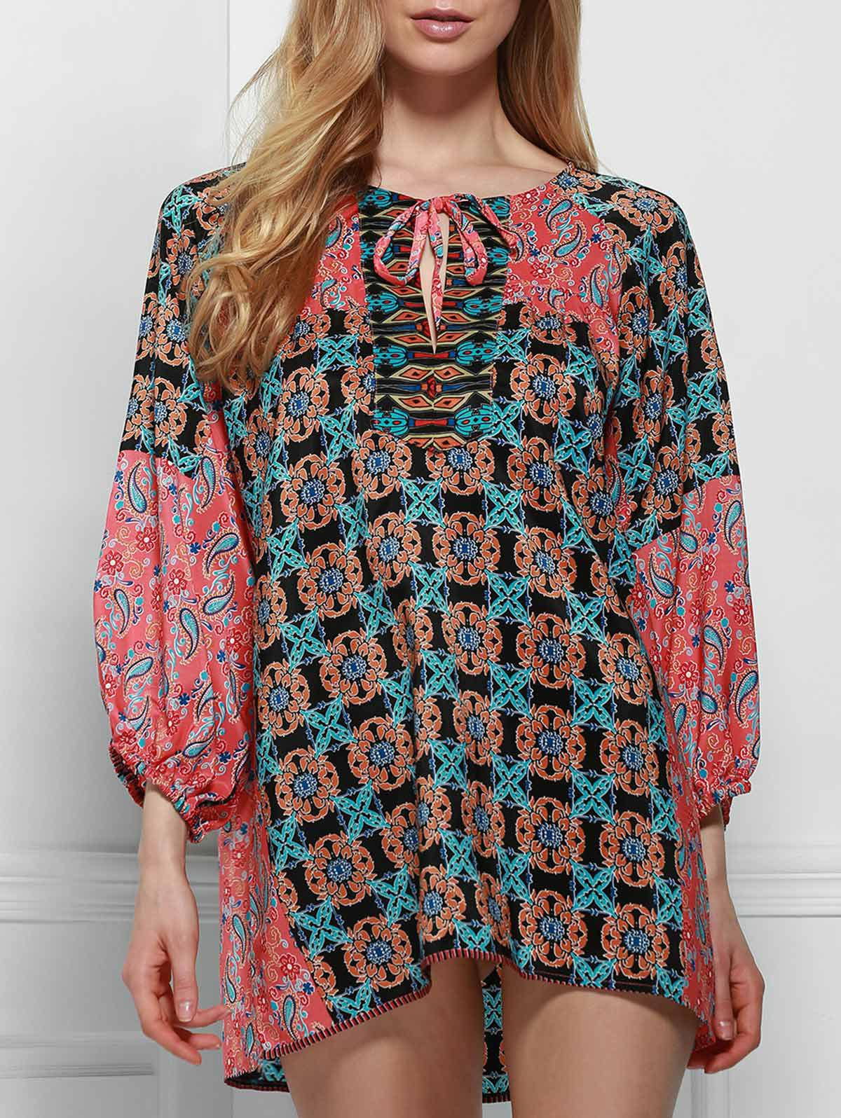 Ethnic Round Neck Long Sleeve Printed Lace-Up Women's Blouse - COLORMIX S
