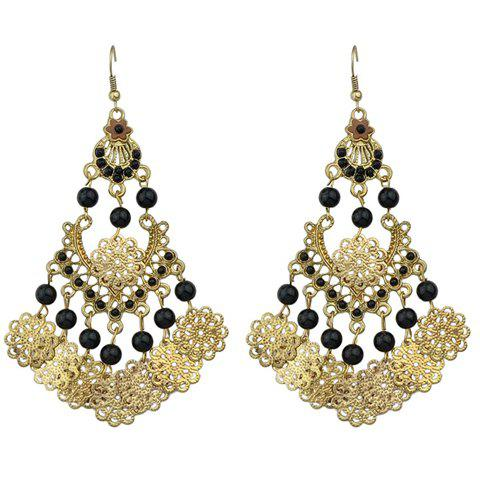 Pair of Floral Hollow Out Beads Earrings - BLACK