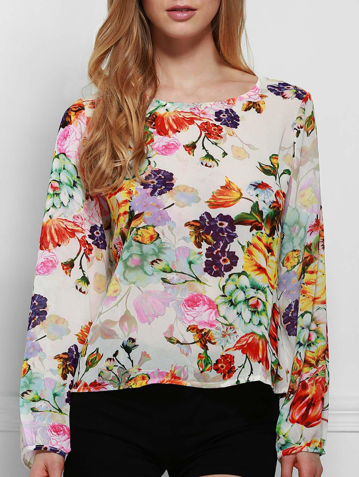 Chic Round Neck Long Sleeve Cut Out Floral Print Women's Blouse - COLORMIX M