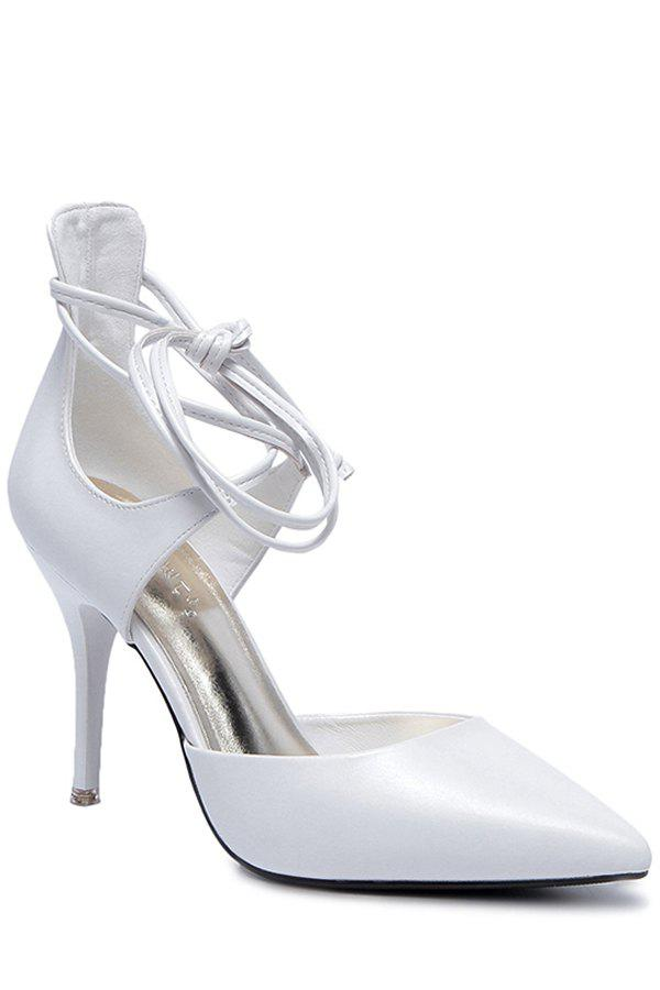 Charming Lace-Up and Stiletto Heel Design Pumps For Women - WHITE 37