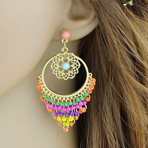 Pair of Beads Floral Hollow Out Earrings - COLORMIX