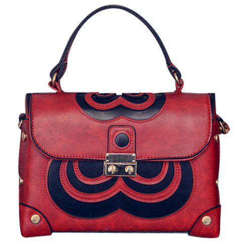 Fashionable Colour Block and Metal Design Women's Tote Bag - RED