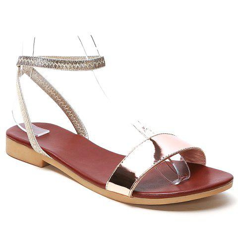 Simple Patent Leather and Elastic Band Design Sandals For Women