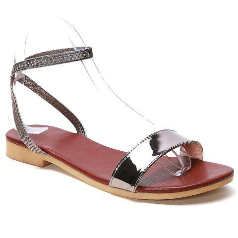 Simple Patent Leather and Elastic Band Design Sandals For Women - GRAY 38