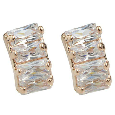 Pair of Chic Faux Crystal Geometric Earrings For Women - ROSE GOLD