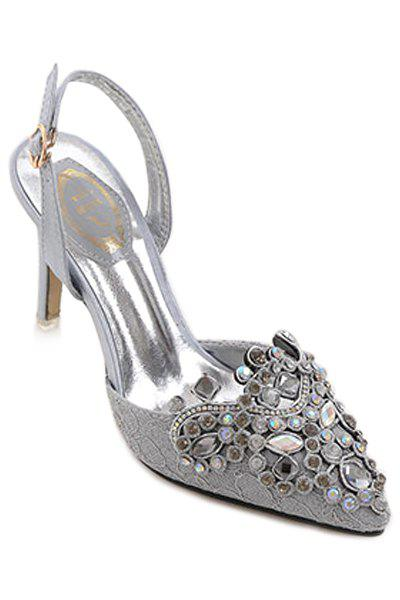 Gorgeous Colorful Rhinestone and Lace Design Sandals For Women - GRAY 38