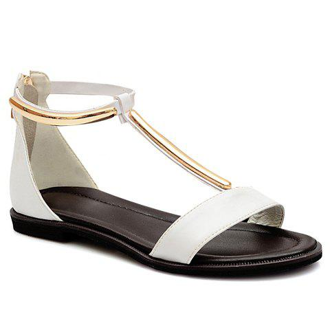 Casual T-Strap and Zipper Design Sandals For Women - WHITE 38