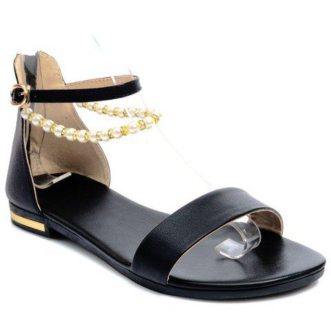 Graceful Beading and PU Leather Design Sandals For Women - BLACK 38