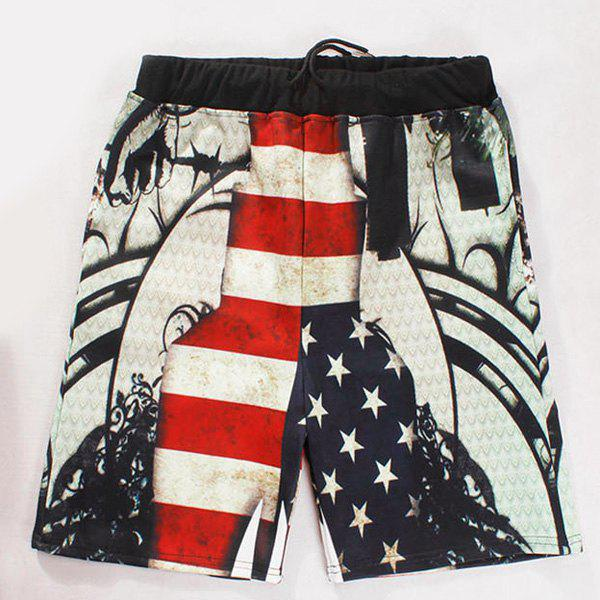 Straight Leg Drawstring Breathable Stars Print Color Block Stripes Men's Board Shorts - COLORMIX L
