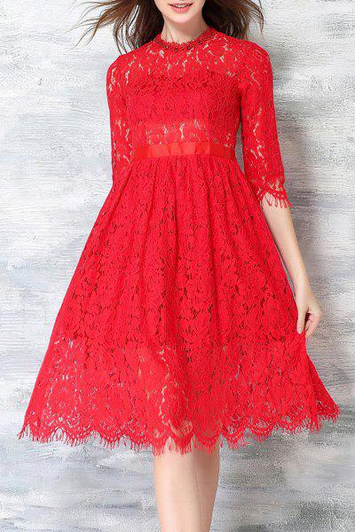 Sweet Women's Round Collar 1/2 Sleeve Self-Tie Bowknot Lace Dress - RED L