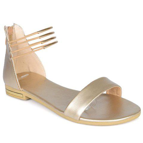 Fashion Zip and PU Leather Design Sandals For Women - GOLDEN 38