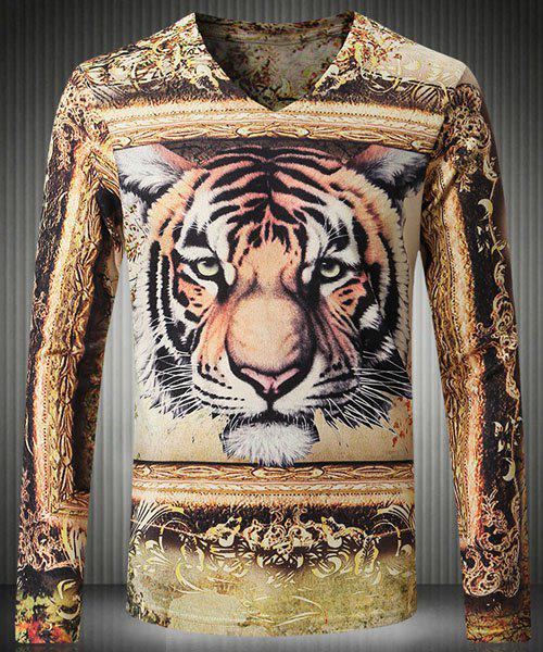 Casual Slimming Long Sleeve V-Neck Tiger Printed T-Shirt For Men - M COLORMIX