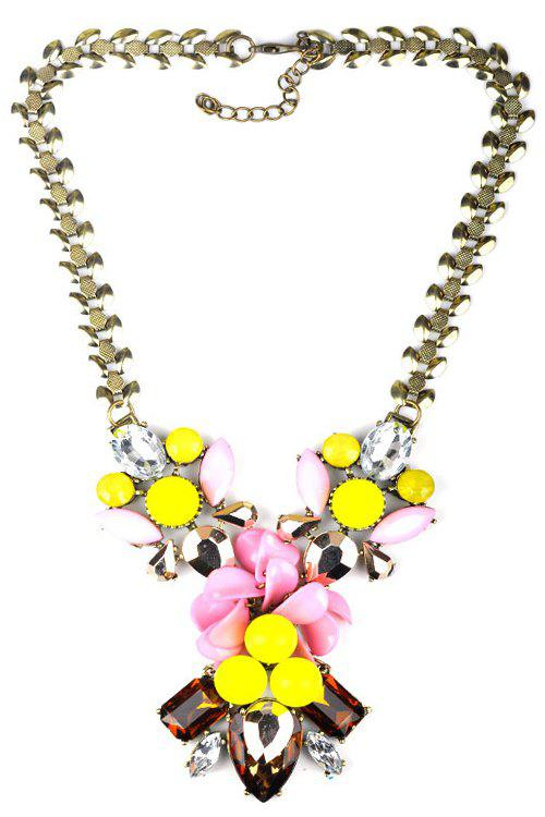 Floral Faux Crystal Decorated Necklace - COLORMIX