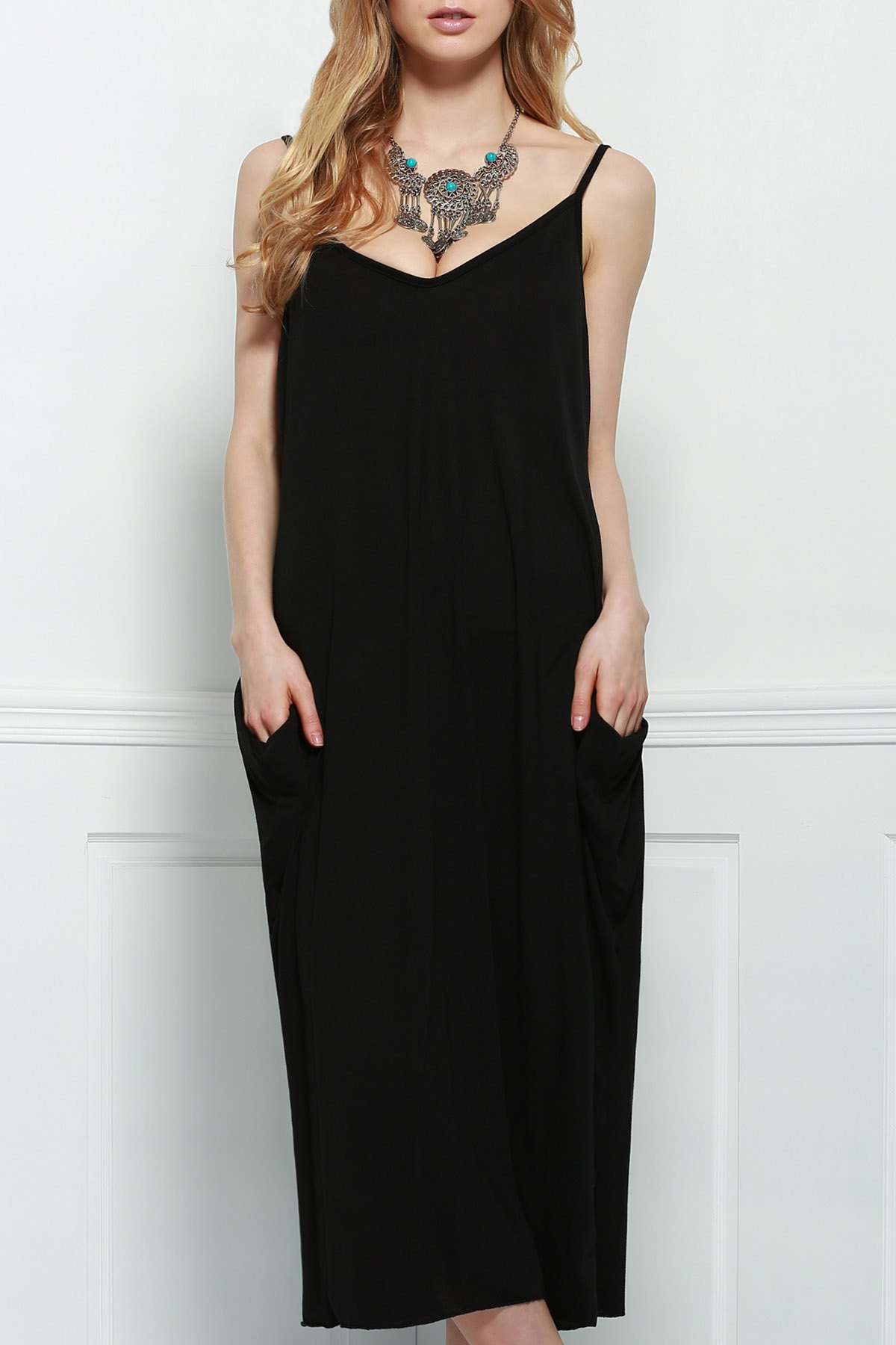 Stylish Spaghetti Strap Solid Color Loose-Fitting Women's Maxi Dress - BLACK M