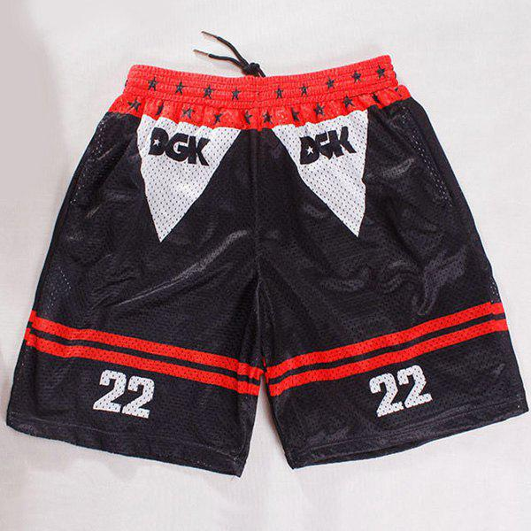 Straight Leg Drawstring Breathable Stripes Print Numbers Pattern Men's Board Shorts - COLORMIX M