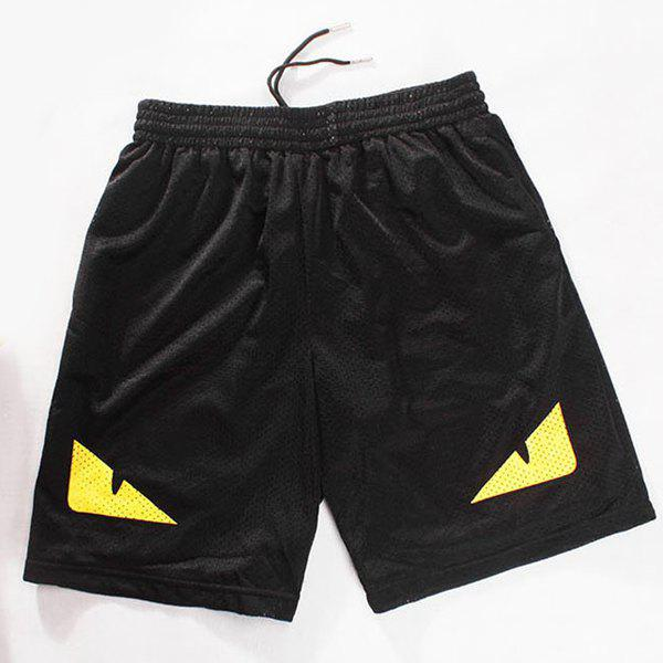 Straight Leg Drawstring Breathable Eyes Pattern Men's Board Shorts - BLACK L
