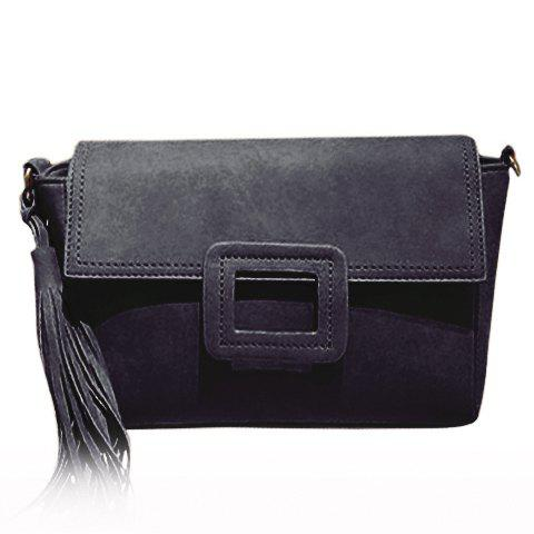Trendy Covered Closure and Tassels Design Women's Crossbody Bag - BLACK