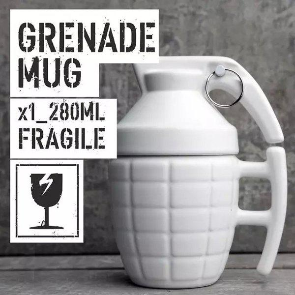 High Quality Hand Grenade Mug Cup With Cover Coffee Milk Cup Fun Mugs Ceramic Tumblers - WHITE