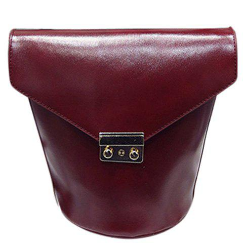 Stylish Solid Colour and Metal Design Women's Shoulder Bag - WINE RED