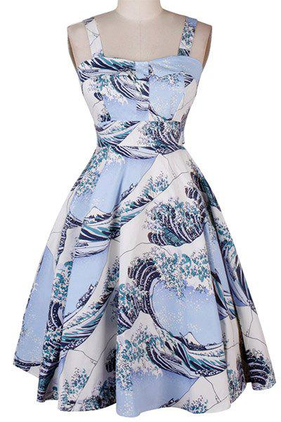 Sweet Women's Square Collar Wave Print Sleeveless Dress - LIGHT BLUE S