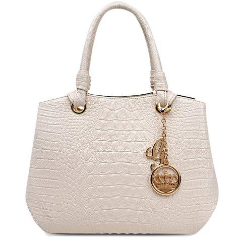 Fashionable Embossing and Solid Colour Design Women's Tote Bag - OFF WHITE
