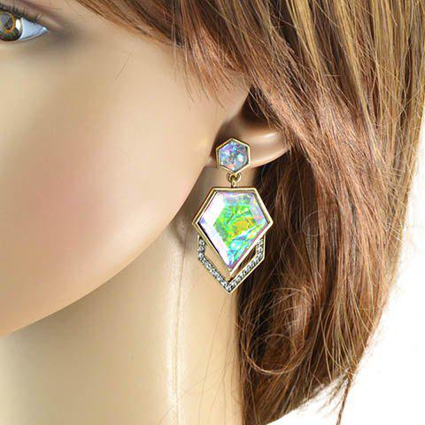 Pair of Chic Rhinestoned Geometric Earrings For Women - GOLDEN