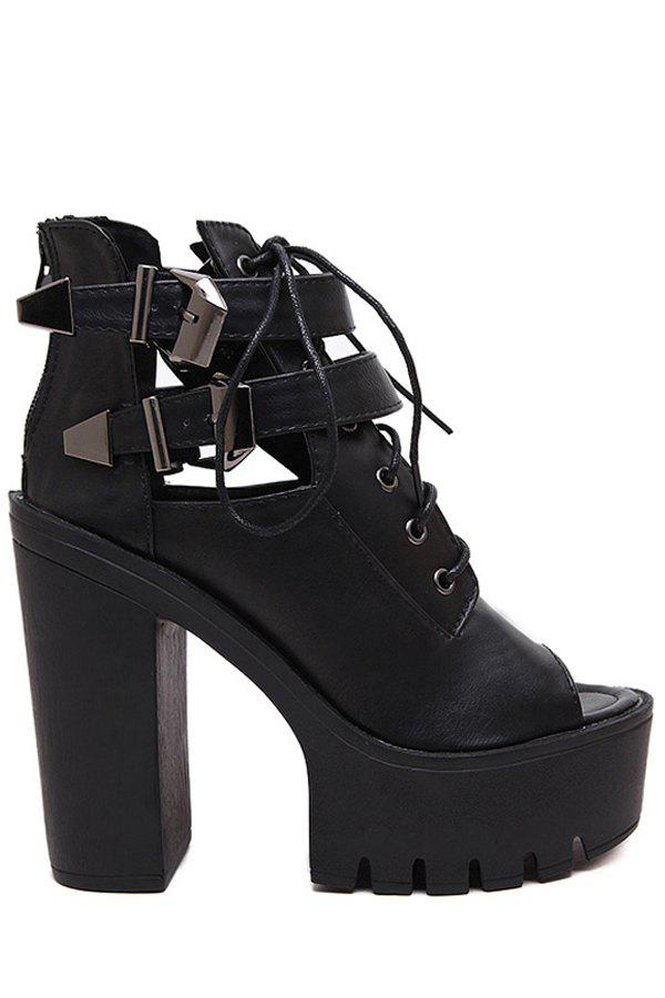 Trendy Chunky Heel and Lace-Up Design Peep Toe Shoes For Women - BLACK 36