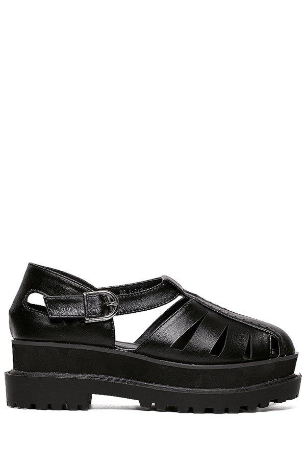 Leisure Closed Toe and Platform Design Sandals For Women - BLACK 36