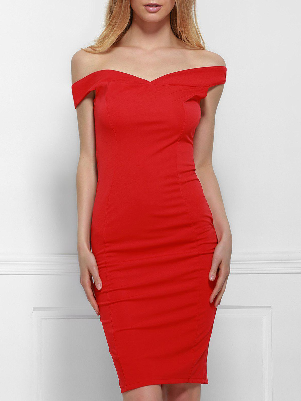 Sexy V Neck Convertible Way Bodycon Red Women's Dress - RED XL