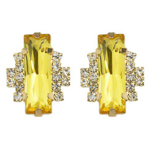 Paire de Faux strass cristal Rectangle Boucles d'oreilles - Jaune