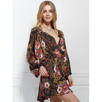 Bohemian Women's V-Neck Long Sleeve Printed Dress - BLACK S