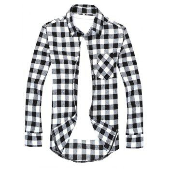 Turn-Down Collar Long Sleeve Slimming Checked Men's Shirt