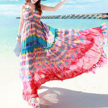 Spaghetti Strap Colored Chiffon Dress