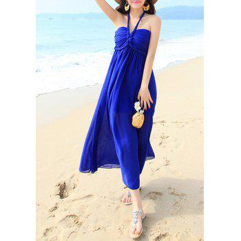 Bohemian Halter Sleeveless Solid Color Women's Chiffon Dress - SAPPHIRE BLUE SAPPHIRE BLUE