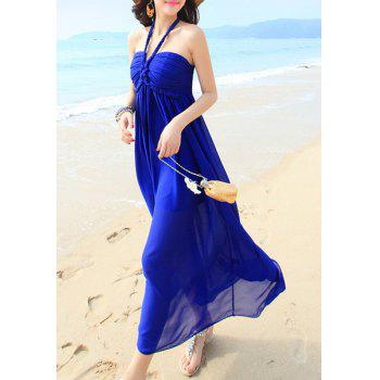 Bohemian Halter Sleeveless Solid Color Women's Chiffon Dress - ONE SIZE(FIT SIZE XS TO M) ONE SIZE(FIT SIZE XS TO M)