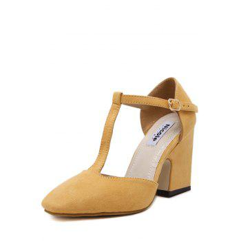 Elegant T-Strap and Chunky Heel Design Pumps For Women - YELLOW 36