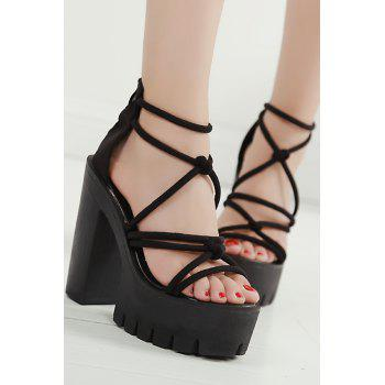 Sexy Cross-Strap and Chunky Heel Design Sandals For Women - BLACK 38