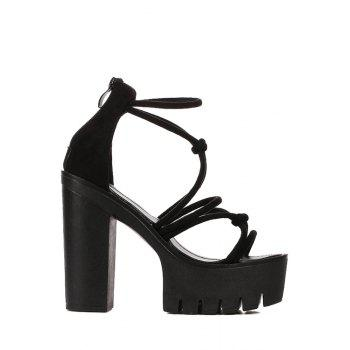 Sexy Cross-Strap and Chunky Heel Design Sandals For Women