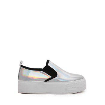 Casual Metallic Color and Elastic Design Platform Shoes For Women - SILVER SILVER