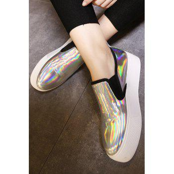 Casual Metallic Color and Elastic Design Platform Shoes For Women - 37 37