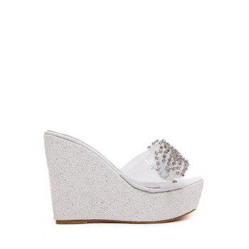 Bling Bling Rhinestone and Wedge Heel Design Slippers For Women - WHITE 37
