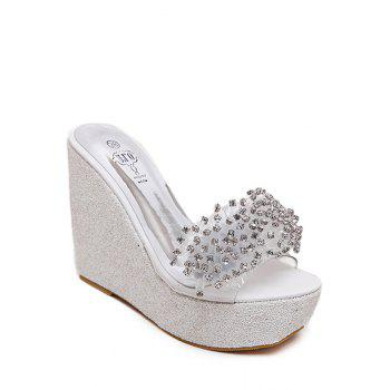 Bling Bling Rhinestone and Wedge Heel Design Slippers For Women - 37 37