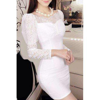 Scoop Neck Lace Spliced Long Sleeve Mini Dress For Women