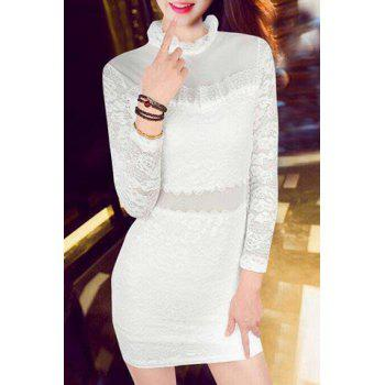 Sexy Women's Ruffled See-Through Long Sleeve Dress