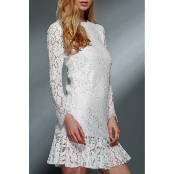 Ladylike Women's Ruffled White Long Sleeve Lace Dress