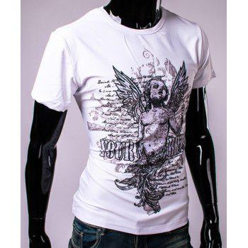 3D Angel and Letters Print Round Neck Short Sleeve Men's T-Shirt - WHITE L