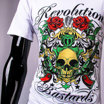 3D Colorful Rose Skull and Letters Print Round Neck Short Sleeve Men's T-Shirt - WHITE XL