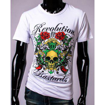 3D Colorful Rose Skull and Letters Print Round Neck Short Sleeve Men's T-Shirt